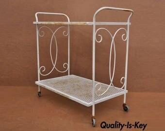 Vintage Wrought Iron Metal Mesh Patio Garden Bar Tea Cart Side Table Salterini Woodard Style