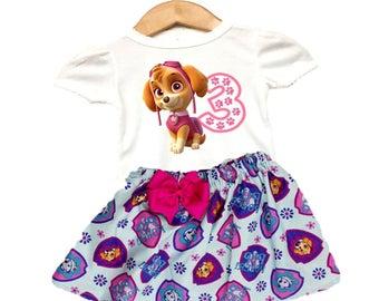 Paw Patrol birthday outfit, Skye Paw patrol skirt, Skye shirt, Nickelodeon Paw Patrol outfit , Skye outfit Skye heat transfer