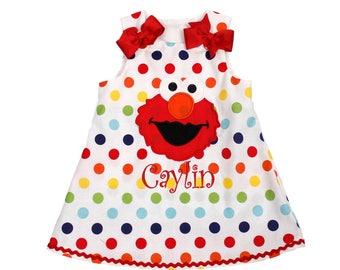 Girls Elmo Aline dress Sesame Street Elmo dress Elmo dress birthday girl dress girl applique Elmo Girl birthday dress girl name dress