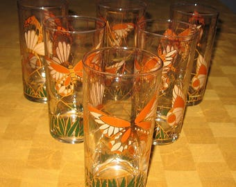 Culver Ltd. glasses with 22k gold and butterflies