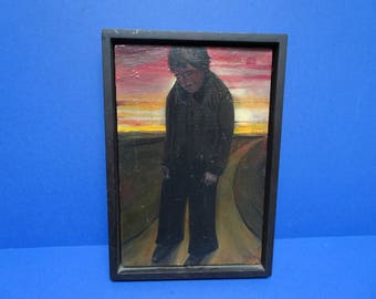 Original Oil on panel. David Hosie. Signed. 'Figure With Northern Sky'. 1997