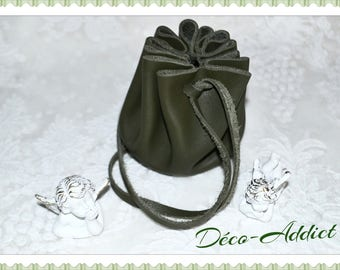 Medieval leather khaki purse - small model