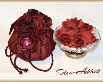 Burgundy silk for wedding or evening pouch