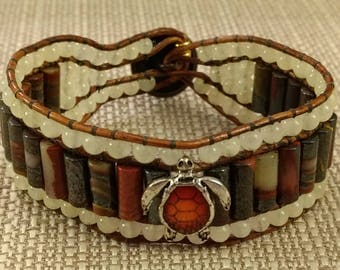 BR1249 Turtle Leatherwrap Bracelet, Banded Agate tube beads, Yellow Jade, Enamel Shell Turtle Slider and Ripple Button
