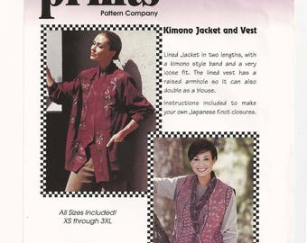 PAW Prints Pattern #007 - Kimono Jacket And Vest – Multiple Sizes Plus Size 1997 Out of Print Uncut Factory Folds  Wearable Art