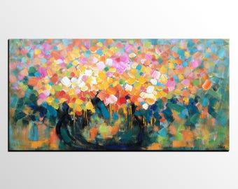 Flower Painting, Canvas Art, Abstract Art, Large Wall Art, Canvas Painting, Custom Painting, Floral Painting, Abstract Painting, Large Art