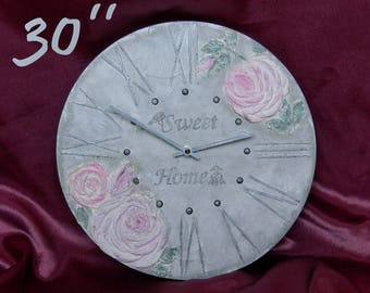 big wall clock with roses wedding wall clock new home gift wall clock rustic large