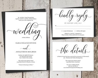 Traditional Wedding Invitation Template Printable Set - Formal Wording in Modern Calligraphy - Editable Instant Download Digital File Suite