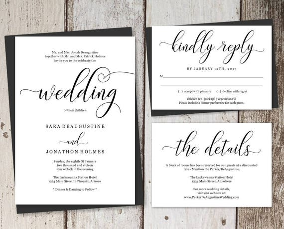 Traditional Elegant Wedding Invitations: Traditional Wedding Invitation Template Printable Set Formal