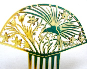 Large Art Deco hair comb Spanish style with figural parrot hair accessory headdress headpiece hair ornament