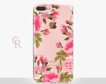 Floral iPhone 8 Case - Clear Case - For iPhone 8 - iPhone X - iPhone 7 Plus - iPhone 6 - iPhone 6S - iPhone SE Transparent - Samsung S8 Plus