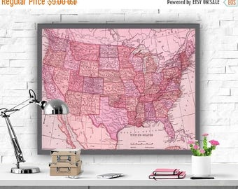 SALE United States Map Art Print Map Decor USA Map Oink Decor Instant Download Map Poster America Map Printable Home Decor Poster