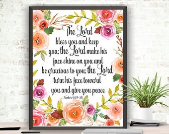 SALE Bible Verse The Lord Bless You and Keep You Printable Art Instant Download Scripture Art Numbers 6:24-26 Christian Art Scripture Verse
