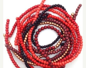 SALE 15% OFF Beaded mix red, 5-6 mm, 7 strands, wooden beads, beads, wooden beads, beads mix round, Pukalite