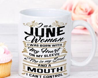 June birthday gifts, June Birthday Mug, Woman Birthday, Birth Month Mug, Born in June, June Mug, gift for June, June Gifts for her