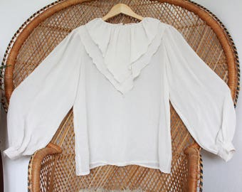 Vintage off white ruffle sheer 70s richards romantic boho top blouse S M