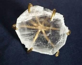 Crystal Selenite Ring Adjustable // Gift for Her // White Selenite Stone // Meditation Ring // Healing Crystal Ring // Raw Selenite Gemstone