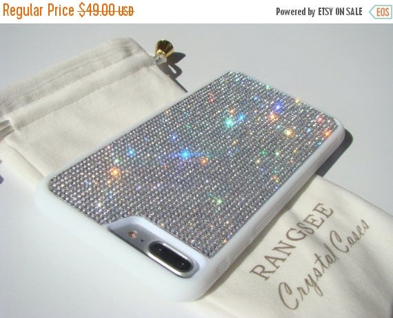Sale iPhone 7 Plus Case Clear Diamond Rhinestone Crystals on White Rubber Case. Velvet/Silk Pouch Bag Included, Genuine Rangsee Crystal Case