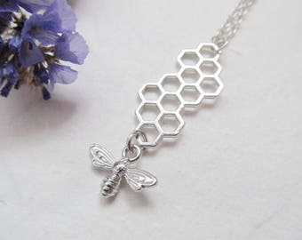 Bee necklace, honeycomb necklace, nature necklace