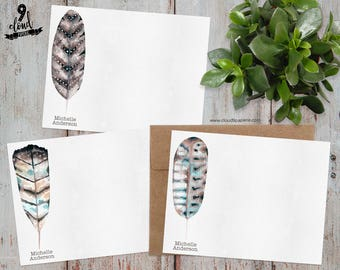 Personalized Note Cards, Personalized Stationery, Feather Custom Note Cards, Watercolor Feathers Flat Note Card Set, Boxed Stationery NC001