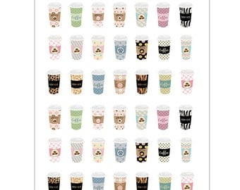 Coffee Cup Planner Stickers, Matte Glossy, Sticker Sale - 1468
