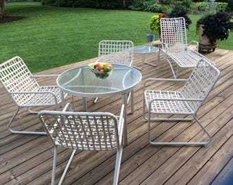 Vintage Mid Century Brown Jordan Lito Collection Outdoor Patio Furniture  Tables Chairs Chaise Lounge Chair Cross