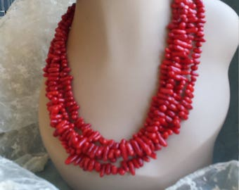 Four strand branch coral designer necklace and earrings