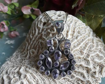 Sterling silver multiple Amethyst faceted stone pendant with chain