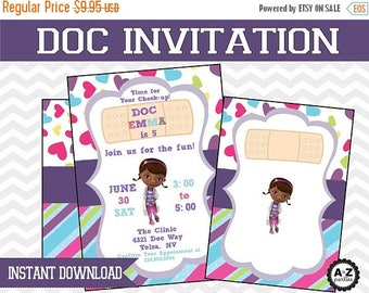 60% OFF SALE Doc McStuffins Blank Invitation, Instant Download, DIY, Jpeg, Printable Invitation, Doc Mcstuffin invite for using Microsoft or