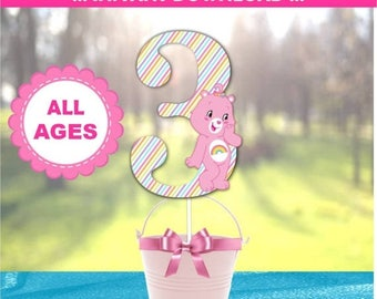 60% OFF SALE Care Bear Centerpiece Designs,60 Percent savings  Party Decorations, instant download, Care Bear Inspired, Cheer Bear, Rainbow,
