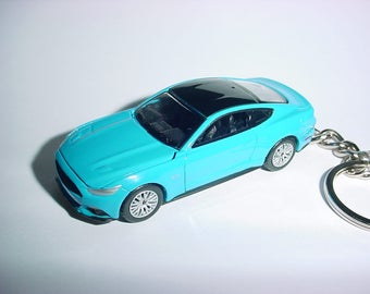 3D 2017 Ford Mustang GT custom keychain by Brian Thornton keyring key chain finished in grabber blue color trim hood opens! 17