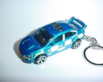 3D POLICE Subaru WRX STI custom keychain by Brian Thornton keyring key chain finished in bluecolor trim diecast metal body