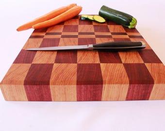 End Grain Cutting Board, Butcher Block Cutting Board, Purple Heart & Hickory, Carving Board, Bread Board, Wedding Gift, Housewarming Gift