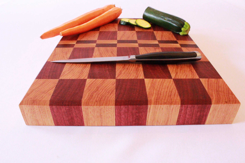 end grain cutting board butcher block cutting board purple