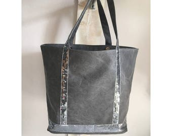 Large canvas tote bag gray