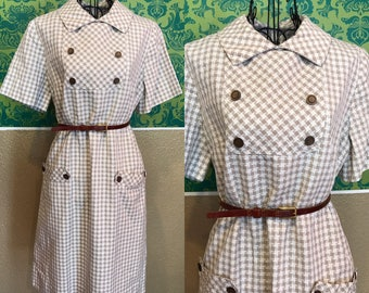 Vintage 1950s Dress - White & Brown Houndstooth Dress w Pockets - L XL