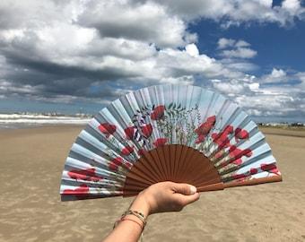 Poppies Hand Fan