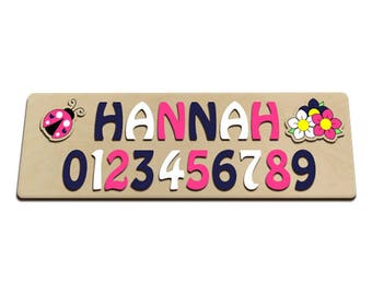 Ladybug & Flowers Personalized Wooden Name Puzzle With Numbers Colors Pink White and Navy or Midnight Blue 549432476
