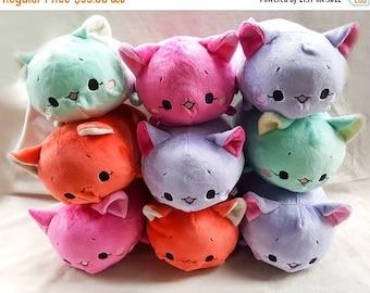 SALE 15% OFF Fuchsia Cat Tsumu Plush // Kawaii Kitty Roll Plushie // Handmade Stuffed Animal Plush Toy // Pink Neko // Ready to Ship