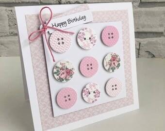 Handmade Button Birthday Card Various Colours