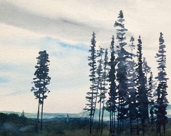 Watercolor trees, tree painting, Treescape, tree watercolor, Cloudy sky, landscape watercolor, landscape painting, trees, Sky painting