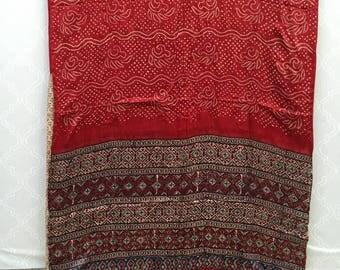 Bandhani & Ajrakh on Gajji Silk
