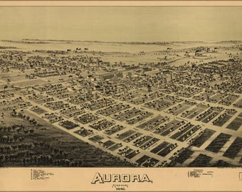 Poster, Many Sizes Available; Birdseye View Map Of Aurora, Missouri 1891