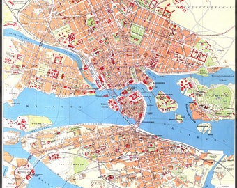 Poster, Many Sizes Available; Map Of Northern Stockholm In Sweden C1928