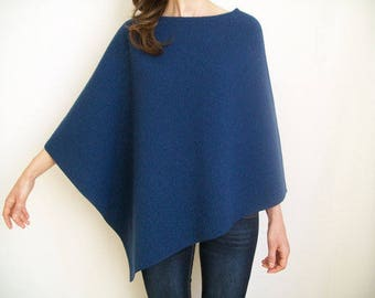 WOOL CAPE/ Women Ponchos/ 100 % Merino Wool Poncho/ Asymmetric Poncho Sweater/ Womens Cape/ Navy Blue Poncho/ Hipster Sweater/ Wool Shawl