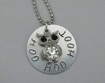 Necklace, Pendant, Silver, Metal Stamped, Owl, Hoot