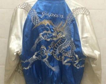 Birthday Sale Vintage Embroidered Souvenirs Japanese Sukajan Jacket, Dragon, Yakuza, Hip Hop, Bombers Jacket, Size L Rare
