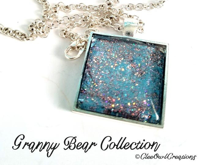 Featured listing image: Handmade Square Silver-tone Glass Necklace with Silver and Glitter Design