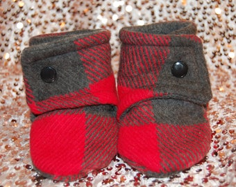 Red and Grey Plaid Stay on Booties