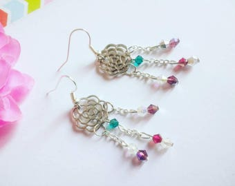 Earrings openwork flower chains and swarovski pearls